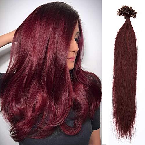 100% Remy Echthaar Extensions Bondings Haarverlängerung Keratin Bonding 100 Strähnen 45cm #99J weinrot
