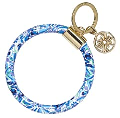 Wristlet keychain includes a Lilly Pulitzer logo charm Made of a durable leatherette (vegan leather) featuring the multicolored design, High Manetenance, by Lilly Pulitzer Keychain measures 4 inches wide x 4 inches tall; opening of the key chain is l...