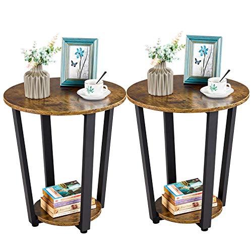 Yaheetech Set 2 Tavolini da Camera da Letto Tavolini Laterali da Salotto a 2 Ripiani Coppia Comodini Vintage Industriale Tavolino Rotondo da Divano per Salotto Soggiorno
