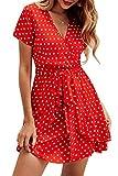 Vestidos Mujer Bohemio Corto Floral/Lunares Verano Playa Fiesta Vestido Casual Magas Cortas Cuello en V Noche Playa Vacaciones Rojo M