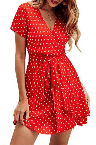 Vestidos Mujer Bohemio Corto Floral/Lunares Verano Playa Fiesta Vestido Casual Magas Cortas Cuello en V Noche Playa Vacaciones Rojo L
