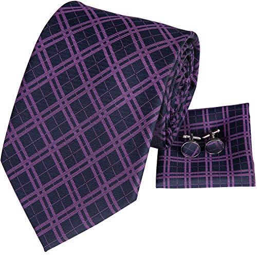 Hi-Tie Mens Purple Plaid Necktie Pocket Square Handkerchief Set