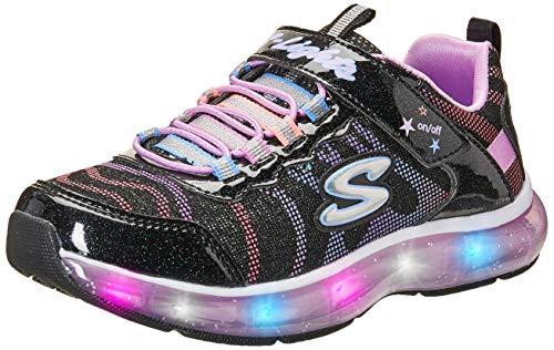 Skechers Kids Girls' Light Sparks Sneaker, Royal Black/Multi, 12 Medium US Little Kid