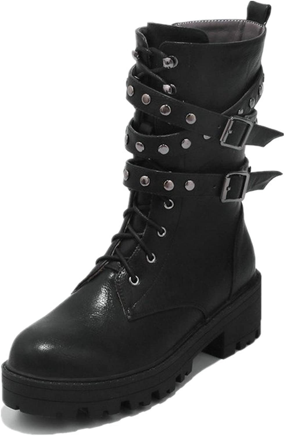 Women Platform Boots Lace Up Low heel Mid Calf Plus Size Boots Leather Studded Rivets Buckle Boots