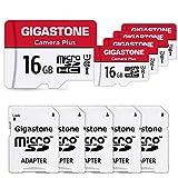 Gigastone 16GB Tarjeta de Memoria Micro SD, Paquete de 5, Camera Plus 85MB / s, Video Full HD, Tarjeta de Memoria U1 C10 Clase 10 Micro SDHC UHS-I, con Adaptador MicroSD a SD