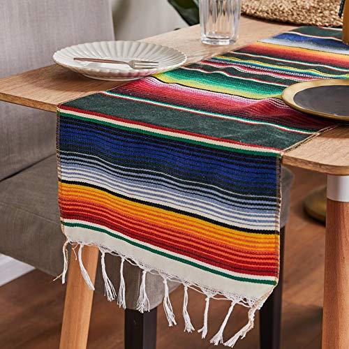 DanLink Camino de Mesa de impresión de Rayas Coloridas de México para la decoración del Partido Mesa Arcoiris Bandera-Verde [35 * 213 cm] 200 Gramos