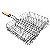 WINOMO BBQ Grill Basket Foldable Grilling Mesh Wire Basket Outdoor Grilling Clip Barbeque Tools for Vegetables Fish Steak Shrimp Meat Other Foods