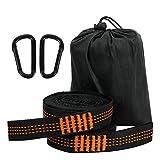 LAMA Paquete de 2 correas para hamaca, [3 m x 2,5 cm] correas para hamaca, accesorios para hamaca, correas para colgar con 2 mosquetones y 1 bolsa de transporte (naranja)