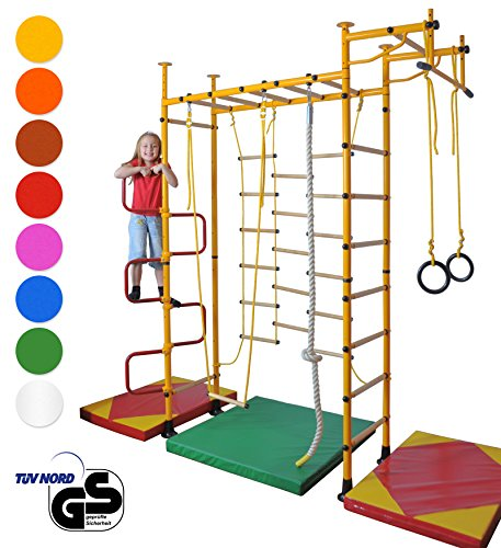 NiroSport FitTop M3 Espalier de Gymnastique pour Enfants et Adultes avec Barre de Traction INCL. Anneaux de Gymnastique, Corde d'escalade, Filet d'escalade, Barre de Trapèze