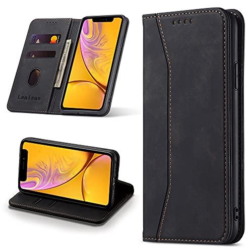 Leaisan Handyhülle für iPhone XR Hülle Premium Leder Flip Klappbare Stoßfeste Magnetische [Standfunktion] [Kartenfächern] Schutzhülle für iPhone XR Tasche - Schwarz