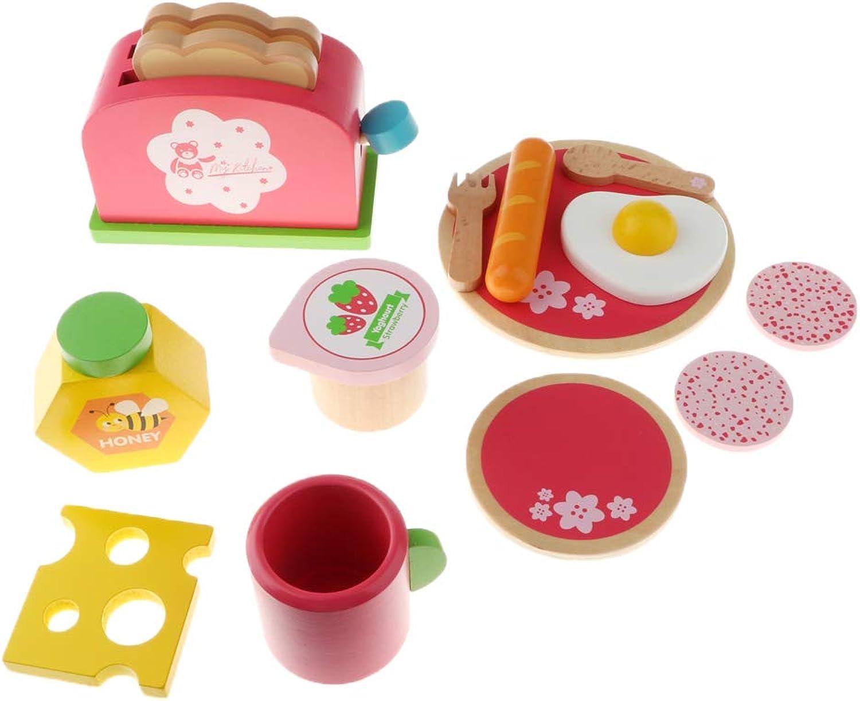MagiDeal Wooden Play Food Breakfast Set