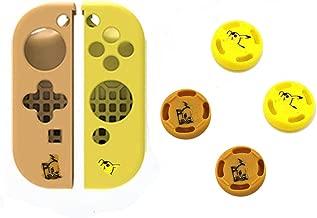 Silicone Non-Slip Cap Case Thumb Grips Cover Analog Thumb Stick Joystick Button Cap Handle Button Caps for Nintendo Switch Joy-con (4PCS Rocker Cap + Handle Sleeve)