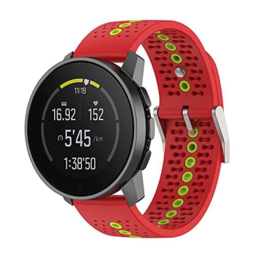 BoLuo 22mm Correa para Suunto 9 Speak,Bandas Correa Repuesto,Silicona Reloj Recambio Brazalete Correa Repuesto para Huawei Watch GT2 Pro/Watch GT 42mm/46mm/Huawei Watch 3/Watch 3 Pro Watch (rojo)