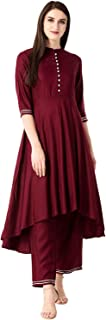 PREXY ENTERPRISE Women's Cotton Kurta With Palazzo Set (Red)