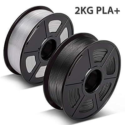 3D Warhorse PLA Plus(PLA+) Filament, PLA Plus(PLA+) Filament 1.75mm, Dimensional Accuracy +/- 0.02 mm, 4.4 LBS(2KG), Bonus with 5M PCL Nozzle Cleaning Filament, PLA Plus Black & PLA Transparent