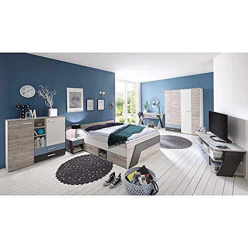 Jugendzimmer Komplett Set Kinderzimmer Set mit Schreibtisch & Jugendbett 140x200cm 6-teilig LEEDS-10 in Sandeiche Nb. mit weiß - Lava und Denim Blau