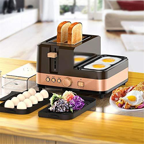 JIASHU 2-Scheiben-Frühstücksstation Breitschlitz-Toaster mit herausnehmbarer Krume, Fleisch- und Gemüse-Aufwärmplatte mit Eierkocher und Wilderer