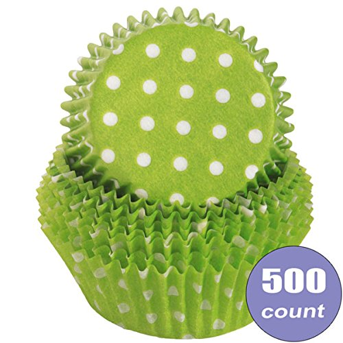 Birthday Direct Cupcake Muffin Liner Baking Cups Bulk - 500 Count Wedding, Party, Shower, Crafts, Bakery (Lime Green Polka Dot)