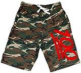 Men's Red Emoji 100 Camo Fleece Jogger Sweatpant Gym Shorts Small Black