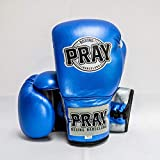 Pray Boxing Moon - Guantes de Boxeo de Piel Natural con Cierre Profesional de Cordones … (Azul, 12 Oz)