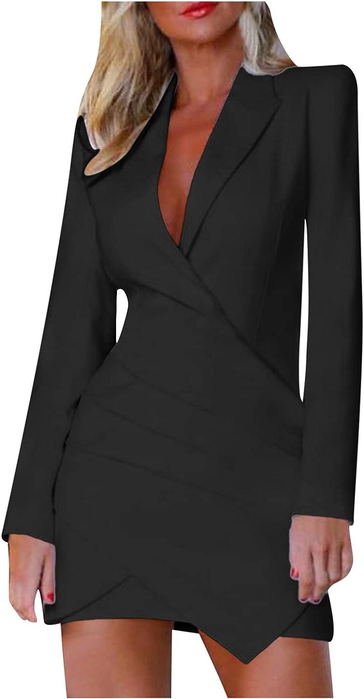 Ellymi Women Casual Elegant Dress Button Up Work Office Party Pencil Midi Suit Dresses Lady's Business Dresses