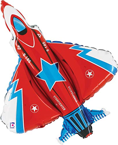"""Red White and Blue Fighter Jet Jumbo 38"""" Foil Party Balloon"""