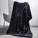Bedsure Faux Fur Reversible Tie-dye Sherpa Throw Blanket - Super Soft Fuzzy Fluffy Plush Throws, Fleece Blanket for Bed Sofa Couch Chair Fall Winter Spring Living Room, Gifts (50x60 inches, Black)