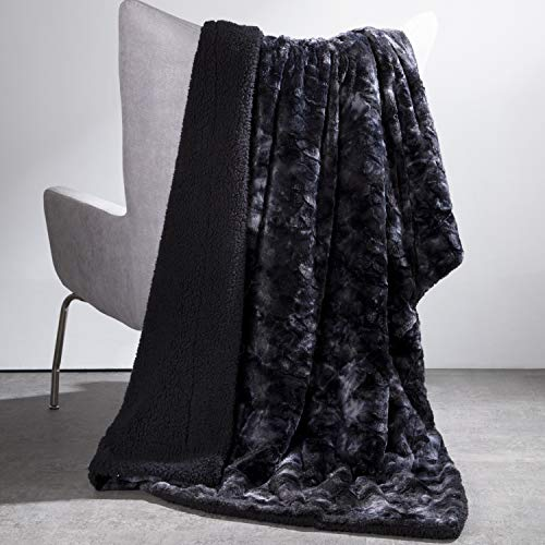 Bedsure Faux Fur Reversible Tie-dye Sherpa Throw Blanket for Sofa, Couch and Bed - Super Soft Fuzzy Fleece Blanket for Outdoor, Indoor, Camping (90x90 inches, Black)