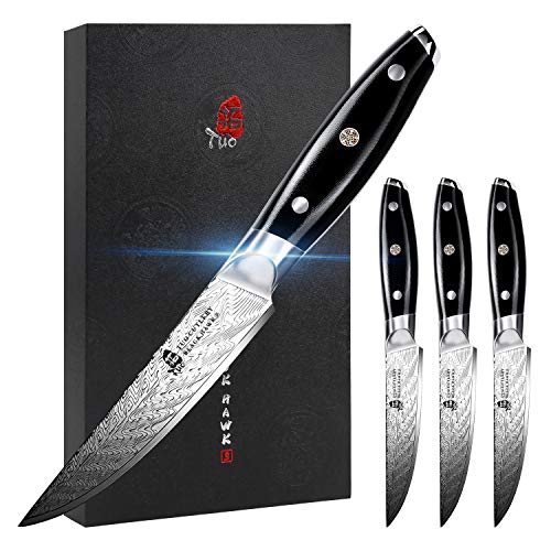 TUO Steak Knife - 5 inch Professional Kitchen Steak Knife Set of 4 - Kitchen Dinner Knives - G10...