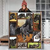 Black Horse Confession Love Letter Hippie Animal Blanket Gift Farmer Love pet Flannel Sherpa Blanket Birthday Gift Souvenir Thick Warm (Youth 56 X 43 INCH)