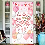 Baby Shower Decorations, Welcome It is a Girl Sign Banner Door Cover Pink Photo Backdrop for Baby Shower Party Supplies, 70.87 x 35.43 inch