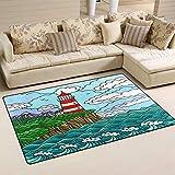 SunsetTrip Lighthouse Sea Ocean - Alfombras náuticas para sala de estar, dormitorio, antideslizante, moderna, alfombra suave al tacto, extra grande, lavables, 78,7 x 50,8 cm