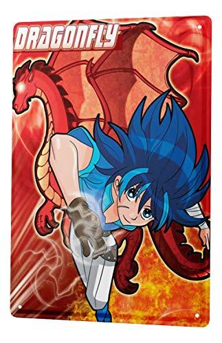 LEotiE SINCE 2004 Plaque en Métal Métallique Poster Mural tin Sign Cartoon Art Amusant Dragon de Manga Libellule Metal Plates 20X30 cm