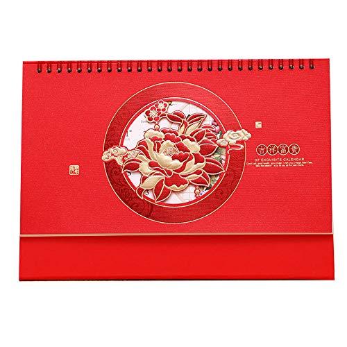 Chinesische Kalender Tischkalender 2021 Kalender Ist 2021 für das Mondjahr des Ochsen,26x8x18.3cm,Chinesisches Pfingstrosenmuster Aus Papier Kalender Aufsteller für Familienpläne Und Geburtstage