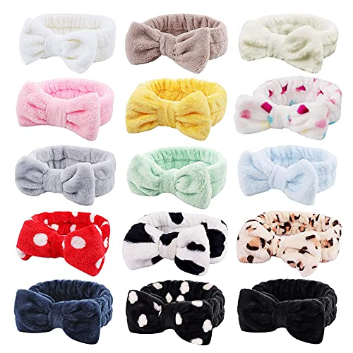 YsesoAi Facial Makeup Headbands, 15 Pack Spa Headbands for Women, Soft Coral Fleece Cosmetic Headband for Women Girls Bow Hair Band Head Wraps, for Washing Face Mask Spa Shower Gifts