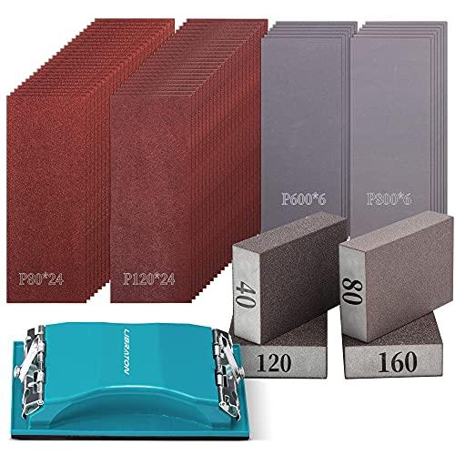Sandpaper 65Pcs, Sandpaper Assortment, Sand Paper 80-800Grit, 40/80/120/160 Grit Sanding Block Sponges, Holder for Sanding Wood, Metal, Wet and Dry Sanding
