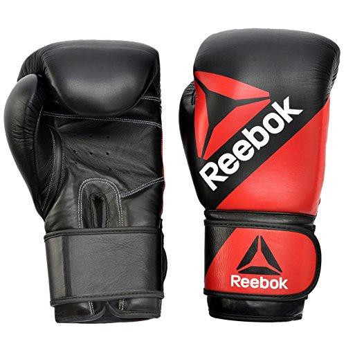 Reebok Combat Leather Training Guantes de Boxeo, Unisex Adulto, Negro/Rojo, Talla Única
