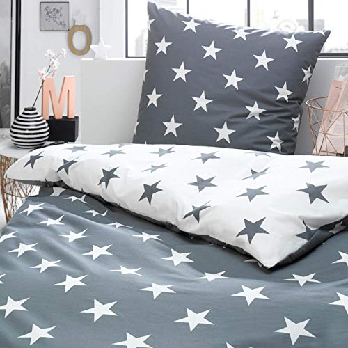 Bettwäsche Sterne grau Perkal , Größe:135x200 cm + 80x80 cm