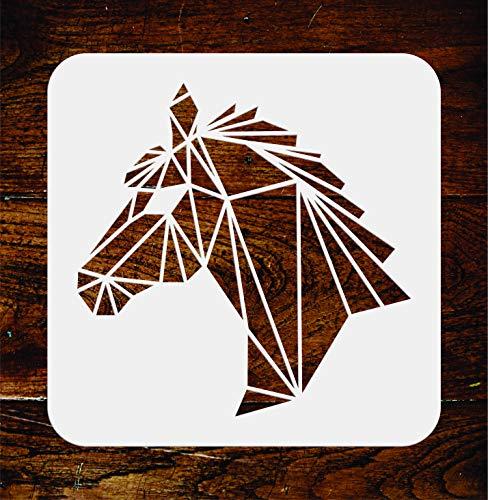 Schablone mit Pferdekopf, wiederverwendbar, geometrische Dekoration, Wandschablone – Verwendung auf Papierprojekten, Scrapbooks, Wänden, Böden, Stoff, Möbel, Glas, Holz usw. L