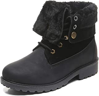 DADAWEN Women's Round Toe Waterproof Outdoor Lace up Work Combat Ankle Bootie Fur Lined Warm Winter Snow Boots