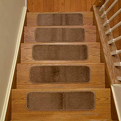 Stair Tread Treads Indoor 7 inch x 24 inch Machine Washable Skid Slip Resistant Carpet Stair Tread Treads Comfy Collection (Set of 13, Grey)