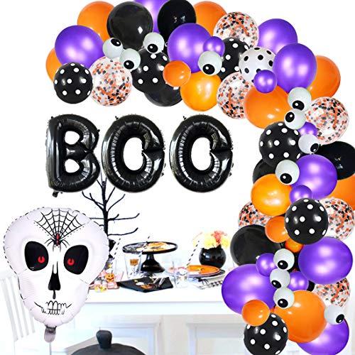 Halloween Balloon Arch Garland Kit - Boo Banner, Confetti Orange Black Purple Eyeball Globo con calavera para cumpleaños Despedida de soltera Decoraciones de Baby Shower