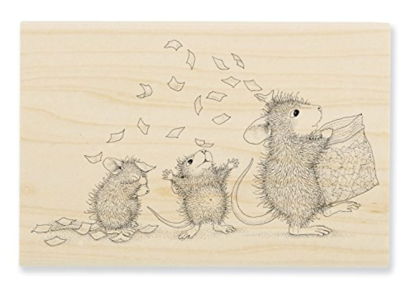 STAMPENDOUS House Mouse Wood Stamp, Tossing Confetti