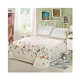 AMDXD Funda de cama de poliéster, color blanco, rojo y azul, con forma de flor, transpirable, hipoalergénica (1 sábana de 230 x 230 cm)