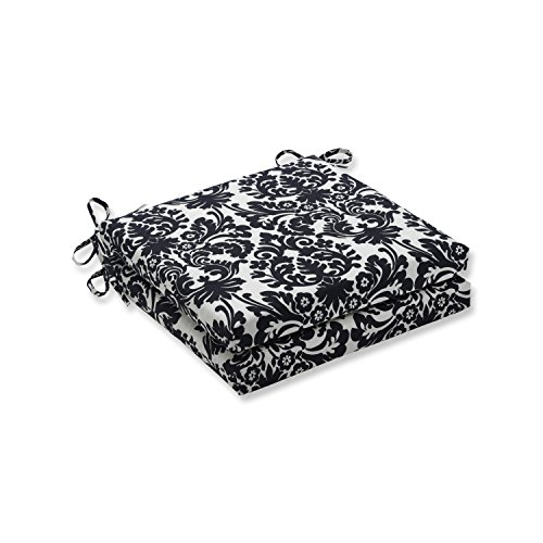 Pillow Perfect Outdoor/Indoor Essence Onyx Squared Corners Seat Cushion 20x20x3 (Set of 2),Black