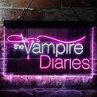 The Vampire Diaries LED看板 ネオンサイン バーライト 電飾 ビールバー 広告用標識 白色 + 紫色 W60cm x H40cm