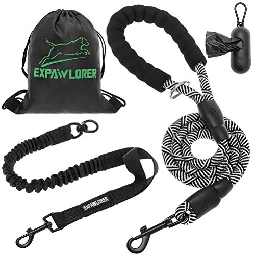 EXPAWLORER 6ft Strong Dog Leash - Reflective Dog Bungee Leash, No Pull for Shock Absorption for Large Breed Dogs with Comfortable Padded Handle, Heavy Duty Rope Leash for Walking with Poop Bag Holder