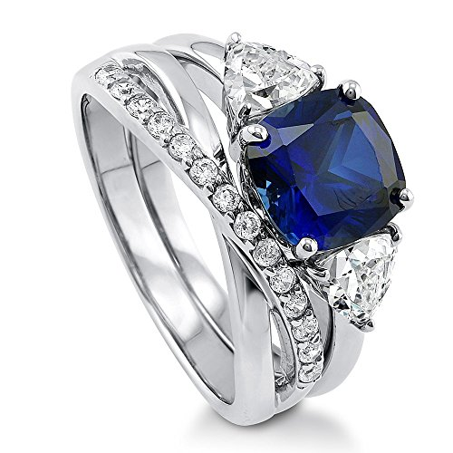 BERRICLE Rhodium Plated Sterling Silver Simulated Blue Sapphire Cushion Cut Cubic Zirconia CZ 3-Stone Infinity Engagement Wedding Ring Set 4 CTW Size 7