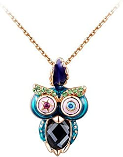 DREAMING Q&P Womens Necklace Austrian Crystal Owl Pendant Chic Chain Jewellery Gift for Her ...
