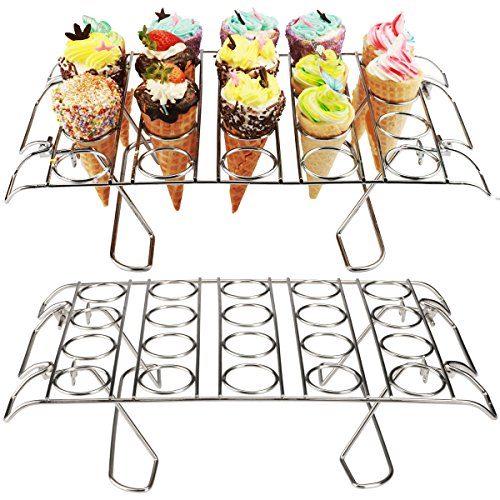 Cupcake Cone Baking Rack 2 Pack, Ice Cream Cone Stand Holder,Waffle Cone Holder, Stainless Steel,20 Capacity Foldable